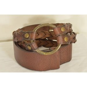 .Chico's belt M/L leather braided brown wide hip w